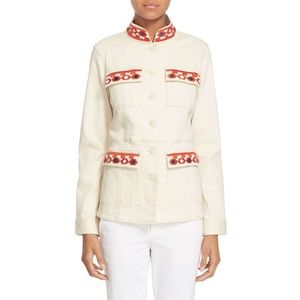 Tory Burch Ivory Embroidered Utility Jacket Large